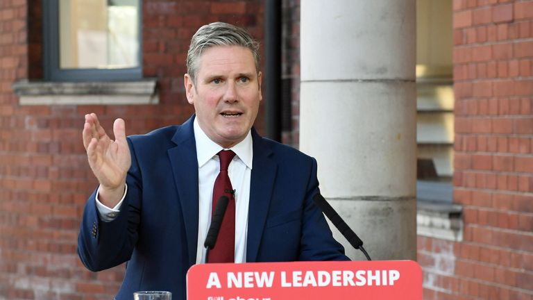 DONCASTER, ENGLAND - SEPTEMBER 22: Labour leader Sir Keir Starmer delivers his keynote speech during the party's online conference from the Danum Gallery, Library and Museum on September 22, 2020 in Doncaster, United Kingdom. Sir Keir addressed party members in his first party conference since becoming leader in the wake of its worst defeat in a general election since 1935. (Photo by Stefan Rousseau - WPA Pool/Getty Images)