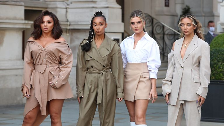 LONDON, ENGLAND - SEPTEMBER 15: Little Mix seen leaving the Langham Hotel ahead of their performance of BBC Radio One Live Lounge on September 15, 2020 in London, England. (Photo by Neil Mockford/GC Images)