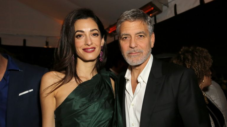 "HOLLYWOOD, CALIFORNIA - MAY 07: (L-R) Amal Clooney and George Clooney attends the premiere of Hulu's ""Catch-22"" on May 07, 2019 in Hollywood, California. (Photo by Rachel Murray/Getty Images for Hulu)"