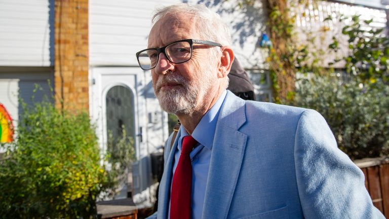 "Former Labour leader Jeremy Corbyn leaves his house in North London. Labour leader Sir Keir Starmer has said he will not restore the whip to Mr Corbyn because he ""undermined and set back our work in restoring trust and confidence in the Labour Party's ability to tackle anti-Semitism""."