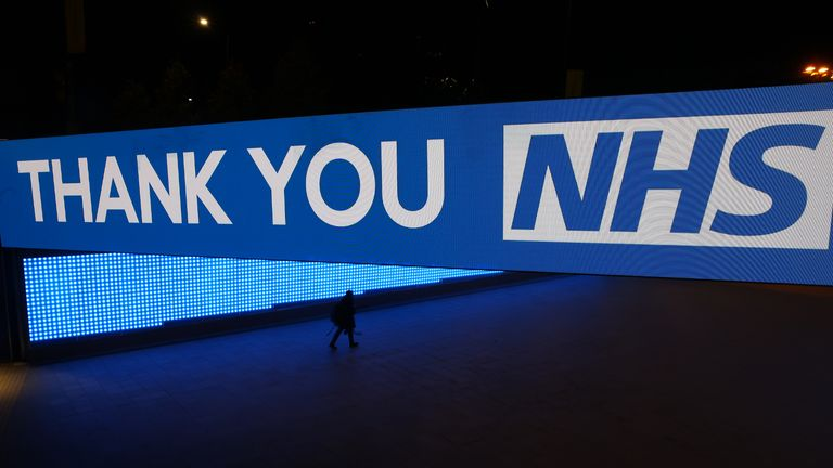 """LONDON,  - MARCH 26: Wembley way is seen thanking the NHS on March 26, 2020 in London, United Kingdom. The """"Clap For Our Carers"""" campaign has been encouraging people across the U.K to take part in the nationwide round of applause from their windows, doors, balconies and gardens at 8pm to show their appreciation for the efforts of the NHS as they tackle the coronavirus (COVID-19). The coronavirus pandemic has spread to many countries across the world, claiming over 20,000 lives and infecting hundreds of thousands more. (Photo by Julian Finney/Getty Images)"""