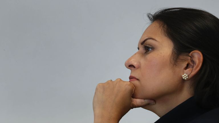 Home Secretary Priti during a visit to Sussex Police Headquarters in Lewes, East Sussex.