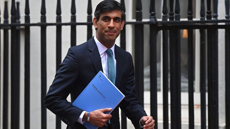 Britain's Chancellor of the Exchequer Rishi Sunak leaves 11 Downing Street in central London, on November 25, 2020, before heading to the House of Commons to present his economic spending review. - Britain's government, seeking to support the pandemic-ravaged economy and the nation's post-Brexit future, will on Wednesday unveil its eagerly-awaited spending plans. Finance minister Rishi Sunak will deliver his spending review to parliament, one week before England ends a month of restrictions aimed at cutting a second wave of infections. (Photo by Ben STANSALL / AFP) (Photo by BEN STANSALL/AFP via Getty Images)