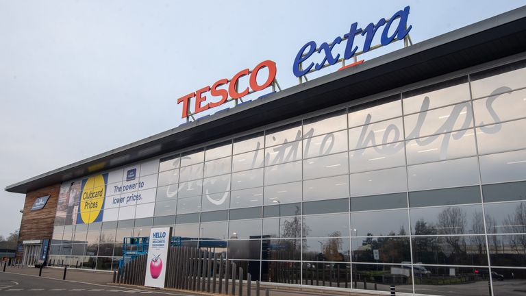 A general view of a Tesco Extra store in Wisbech, Cambridgeshire. Cambridgeshire Police officer Simon Read is facing charges of attempting to to buy a 9.95 box of 12 Krispy Kreme donuts for seven pence by sticking a barcode for carrots on them and going through a self-service checkout at the Tesco Extra store.
