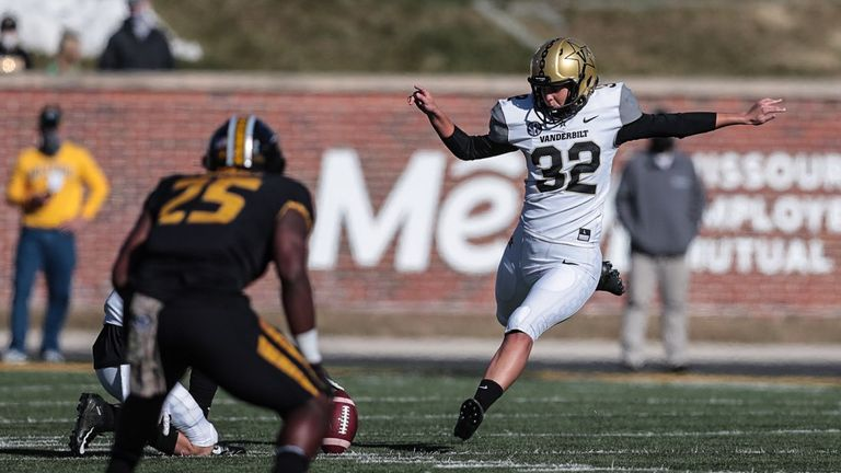 COLUMBIA, MISSOURI - NOVEMBER 28: Sarah Fuller #32 of the Vanderbilt Commodores kicks off in the second half against the Mizzou Tigers at Memorial Stadium on November 28, 2020 in Columbia, Missouri. Fuller, a senior goalkeeper on Vanderbilt's SEC championship soccer team became the first woman to play in a Power 5 NCAA football game. (Photo by Hunter Dyke/Mizzou Athletics via Getty Images)