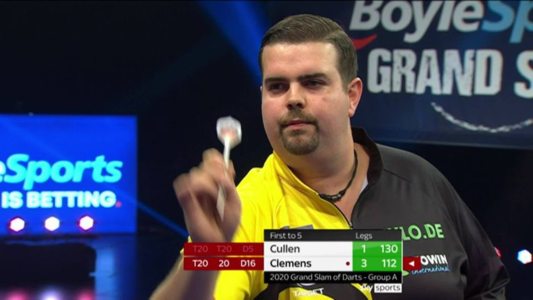 Check out some of the big finishes in the match between Joe Cullen and Gabriel Clemens in the Grand Slam of Darts