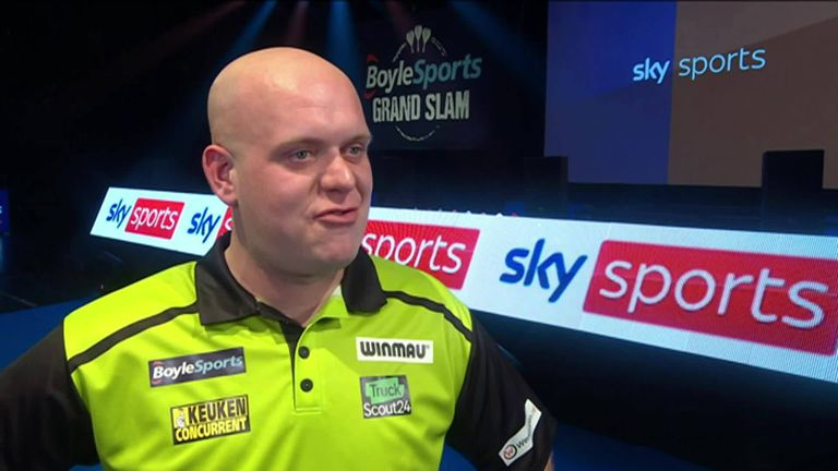 Michael van Gerwen thrashed Adam Hunt in his opening match of the Grand Slam and is hoping to carry on his good form throughout the tournament