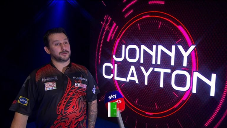 Jonny Clayton gives reaction after beating Ryan Joyce 5-4 in his first match at the Grand Slam of Darts