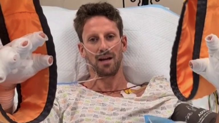 F1 driver Romain Grosjean gives an update on his condition after surviving a highspeed crash.