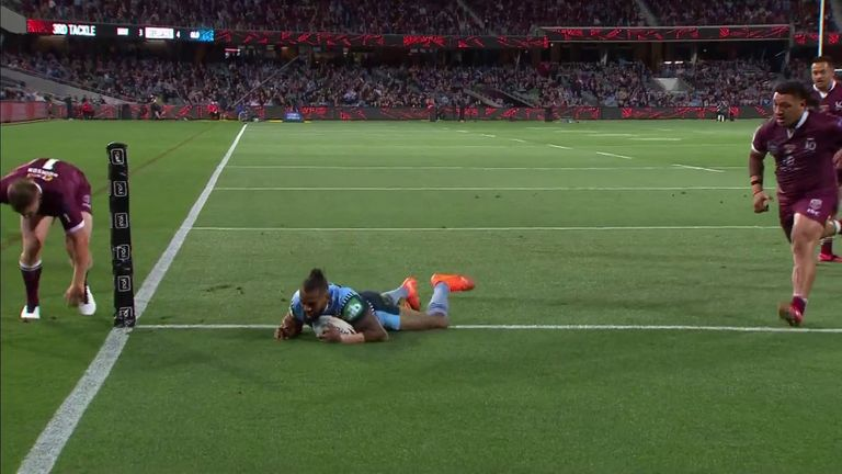 Josh Addo-Carr goes over to extend the lead for the New South Wales Blues in the State of Origin match against the Queensland Maroons