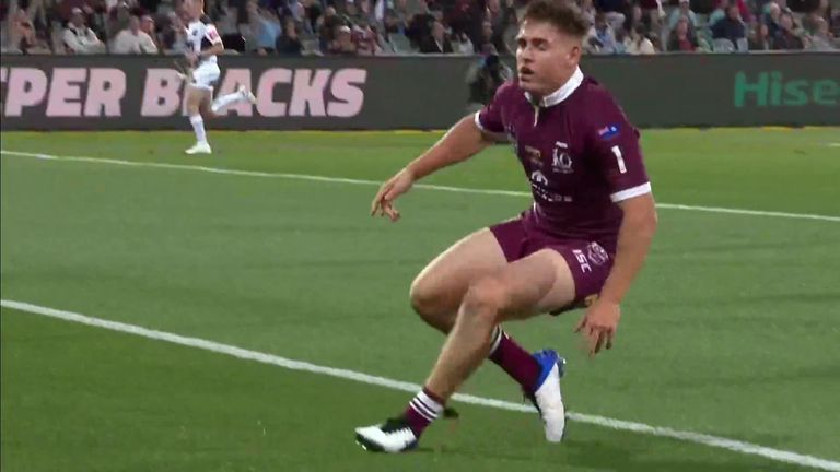 AJ Brimson puts the first points on the board for Queensland in the State of Origin match against New South Wales