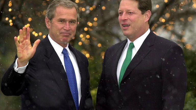 President-elect George W Bush and Al Gore after the election was over
