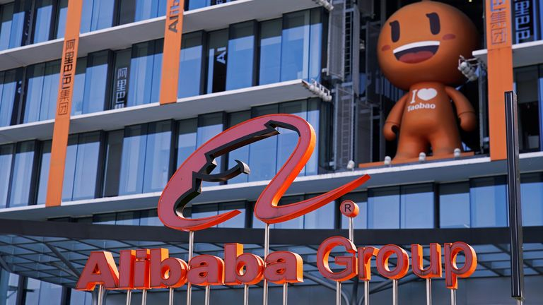 The Alibaba Group logo is seen during the company's 11.11 Singles' Day global shopping festival at their headquarters in Hangzhou, Zhejiang province, China, November 11, 2020