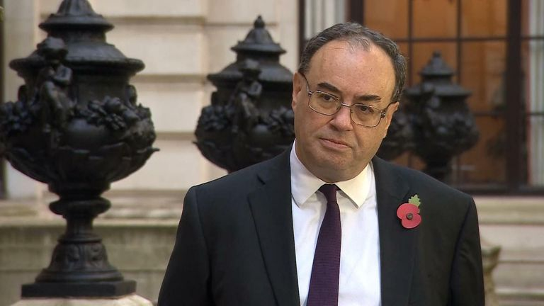 The governor of the Bank of England (BoE) Andrew Bailey