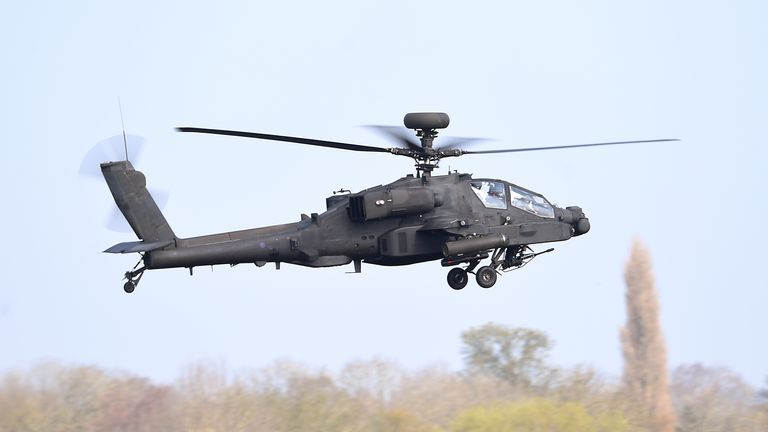 An Apache helicopter takes off from Wattisham Airfield in Suffolk. File pic