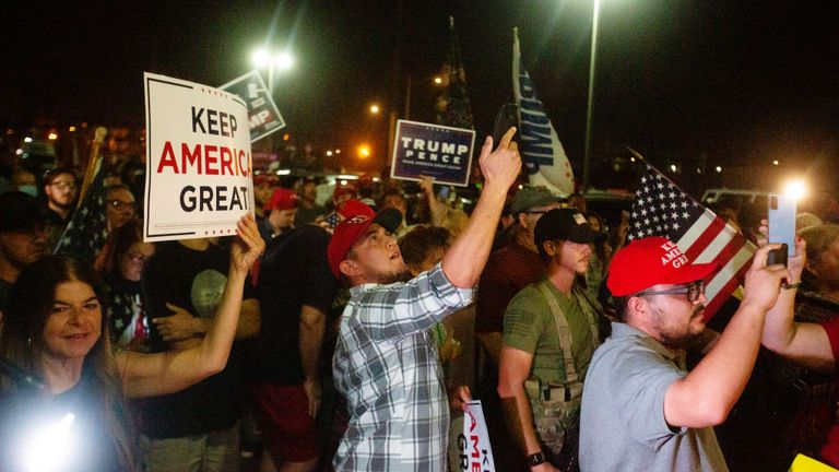 PHOENIX, AZ - NOVEMBER 04: Protesters in support of President Donald Trump gather to protest the election results at the Maricopa County Elections Department office on November 4, 2020 in Phoenix, Arizona. (Photo by Courtney Pedroza/Getty Images)