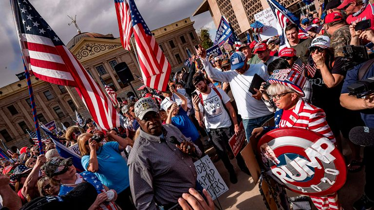 Trump supporters protest in Arizona | News UK Video News | Sky News