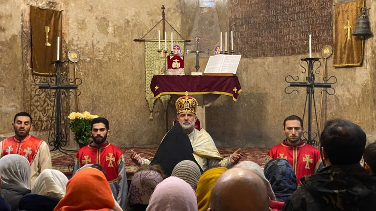 Bishop Hovhannes Hovhannisyan presides over Holy Mass at Dadivank Cathedral Church