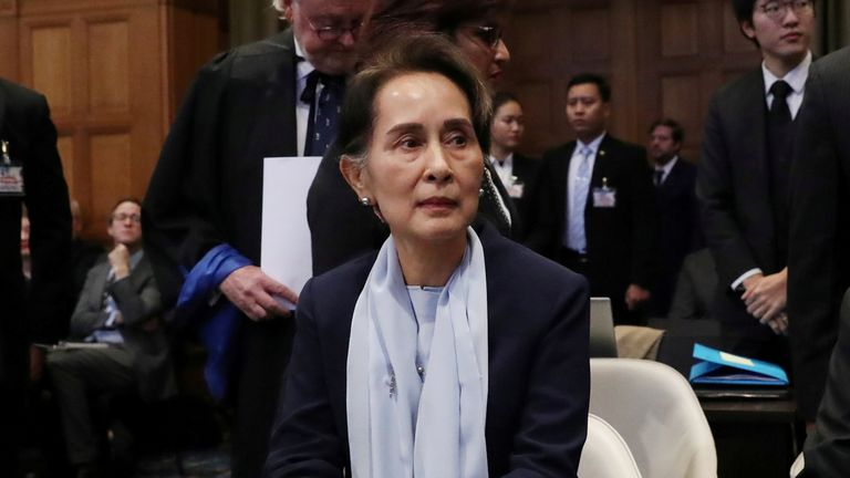 FILE PHOTO: Myanmar's leader Aung San Suu Kyi attends a hearing on the second day of hearings in a case filed by Gambia against Myanmar alleging genocide against the minority Muslim Rohingya population, at the International Court of Justice (ICJ) in The Hague, Netherlands December 11, 2019. REUTERS/Yves Herman/File Photo