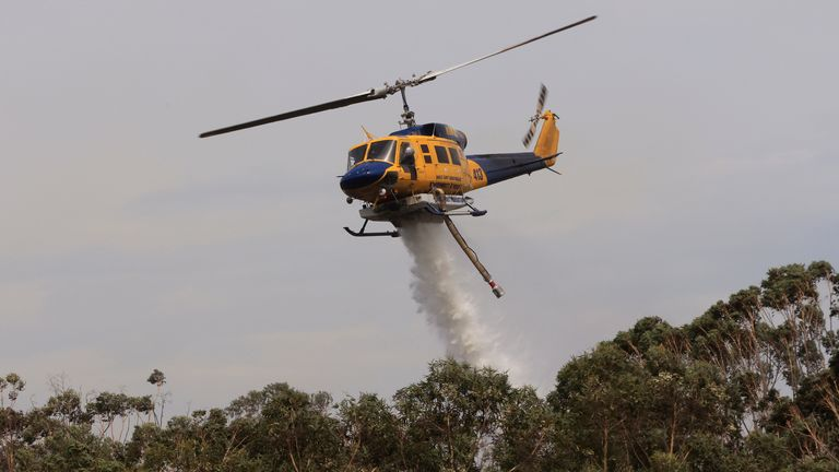 Helicopters are seen water bombing an out of control bushfire at Northmead in Sydney, Australia