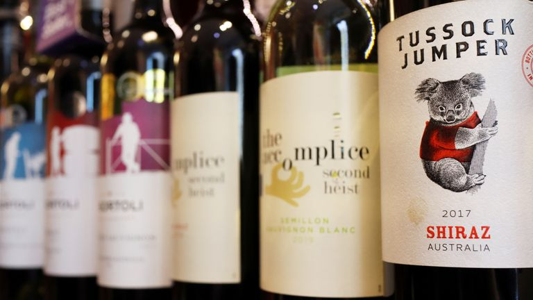 Bottles of Australian wine are seen at a store selling imported wine in Beijing,