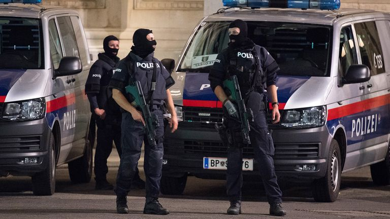 VIENNA, AUSTRIA - NOVEMBER 02: Heavily armed police stand outside the Vienna State Opera following shots fired in the city center on November 02, 2020 in Vienna, Austria. Police blocked off nearby streets around Schwedenplatz square and urged people to stay away in what seems to be an ongoing event possibly involving several attackers. (Photo by Michael Gruber/Getty Images)