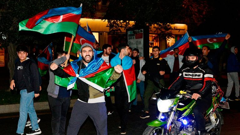 Azerbaijanis celebrate in the streets of Baku