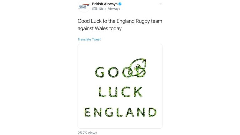 British Aiways posted the tweet at 5.04am on Saturday, ahead of England's match against Wales