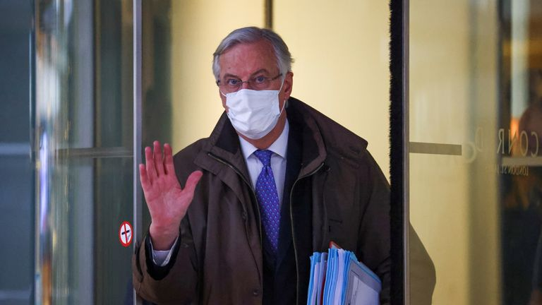European Union's chief Brexit negotiator Michel Barnier wearing a protective face mask is seen in London, Britain November 28, 2020. REUTERS/Henry Nichol
