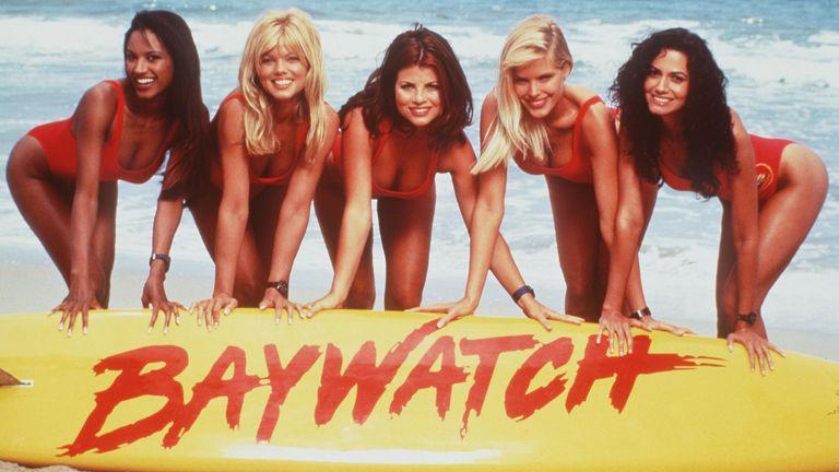 "1996 The Girls Of ""Baywatch."" From L-R: Traci Bingham, Donna D'Errico, Yasmine Bleeth, Gena Lee Nolin And Nancy Valen. Baywatch"