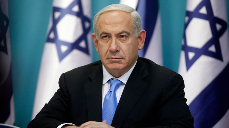 Prime Minister Benjamin Netanyahu looks on during a joint press conference with Foreign Minister Avigdor Liberman and Defence Minister Ehud Barak (not pictured), on November 21, 2012 in Jerusalem, Israel.