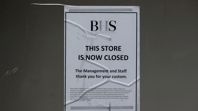 A notice is displayed in the windows of the Wood Green branch of department store chain BHS