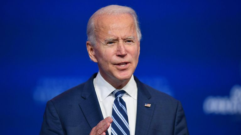US President-elect Joe Biden delivers remarks at The Queen in Wilmington, Delaware, on November 10, 2020. - A week after losing the US election, President Donald Trump remained shut up in the White House on November 10, 2020, pushing an alternate reality that he is about to win and blocking Democrat Joe Biden's ability to prepare the transition. (Photo by ANGELA WEISS / AFP) (Photo by ANGELA WEISS/AFP via Getty Images)