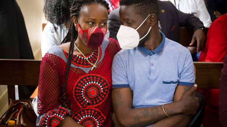 Bobi Wine's wife, Barbara Itungo, joined him in court