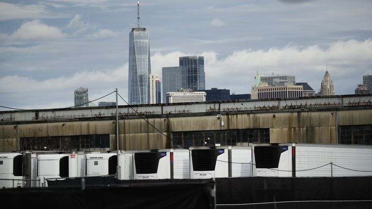 Refrigerated morgue trailers believed to be holding the bodies of people who died of COVID-19 are seen at South Brooklyn Marine Terminal on November 23, 2020 in New York City