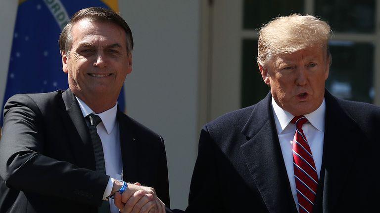Brazil president Jair Bolsonaro has been a close ally of Mr Trump's