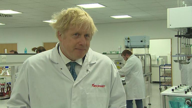 Prime Minister Boris Johnson was speaking at the laboratories of Wockhardt in Wales, which is due to make 350m doses of vaccine