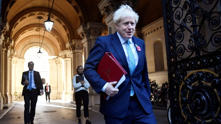 Britain's Prime Minister Boris Johnson leaves a cabinet meeting at the Foreign and Commonwealth Office (FCO), in London, Britain, November 3, 2020. REUTERS/Toby Melville