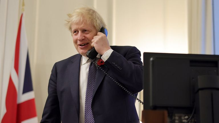 Picture released by Number 10 of Boris Johnson on the phone with Joe Biden. Pic: Andrew Parsons/Number 10