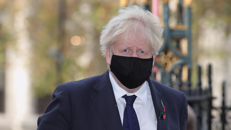 The PM wore a mask as he headed to Westminster for the service