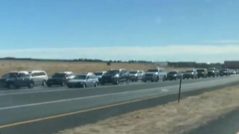 Queue of motorists waiting for burgers in Colorado