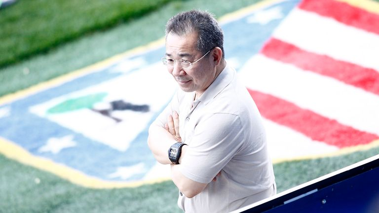 Leicester City FC's owner Vichai Srivaddhanaprabha during training session. April 11, 2017.(Photo by Acero/Alter Photos/Sipa USA)