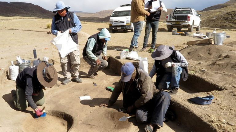 Undated handout photo issued by University of California, Davis and the journal Science Advances of excavations at Wilamaya Patjxa site in Peru.