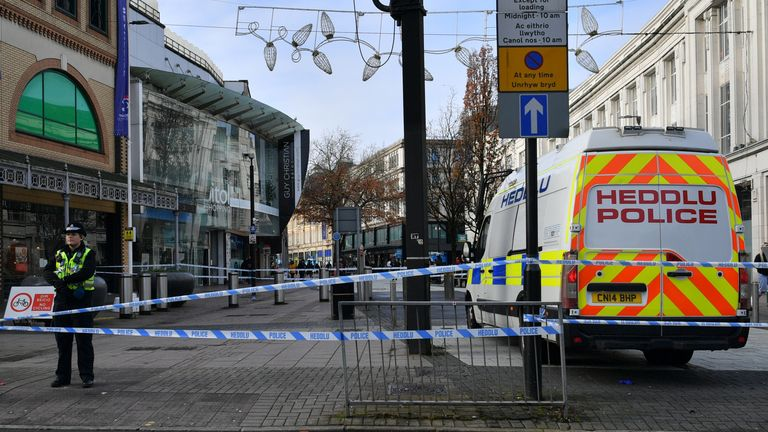 Police in Cardiff city centre after six people were taken to hospital following violent disorder