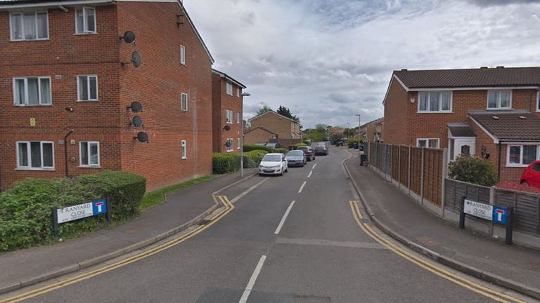 A woman, 48, was found dead at a home in Ranyard Close early on Saturday. Pic: Google Street View