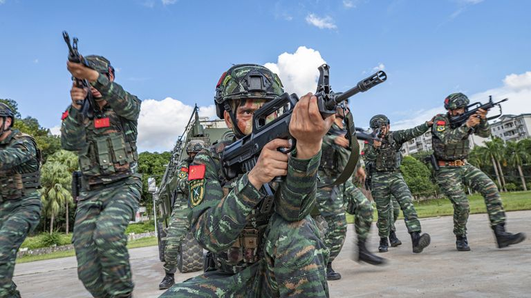 An anti-terrorism exercise is held on 04th November, 2020 in Nanning,Guangxi, China(Photo by TPG/Getty Images)