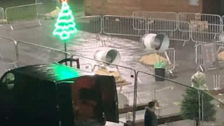 Pic taken from video footage of thieves stealing 300 Christmas trees from Pines& Needles in Wimbledon Park, London. Pic credit: Pines & Needles