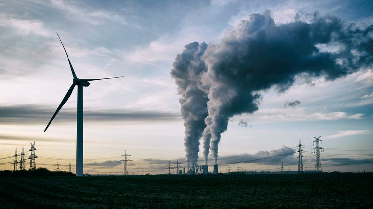 Wind farms and coal fumes in the UK
