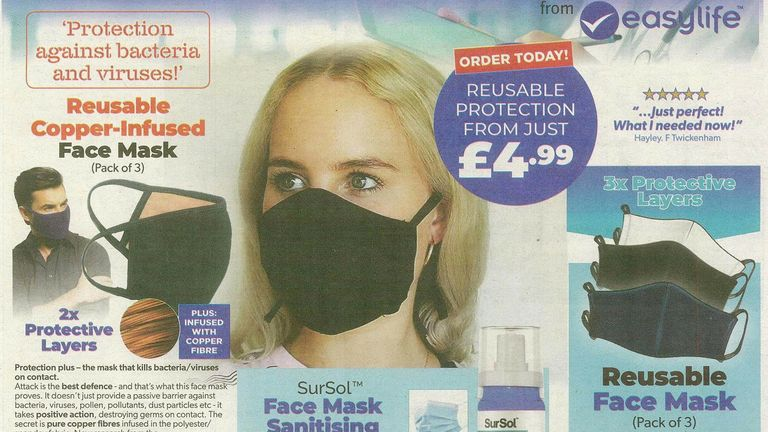 """The ad claimed the masks provided """"protection against bacteria and viruses"""" Pic: Advertising Standards Authority"""
