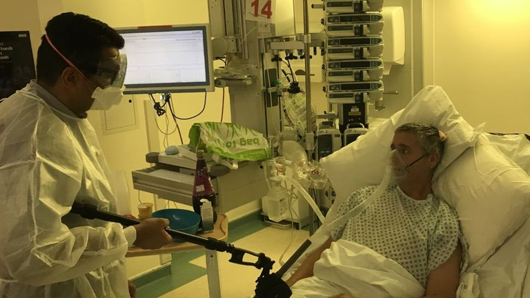 Tom Skingle, 51, is being treated for coronavirus in intensive care